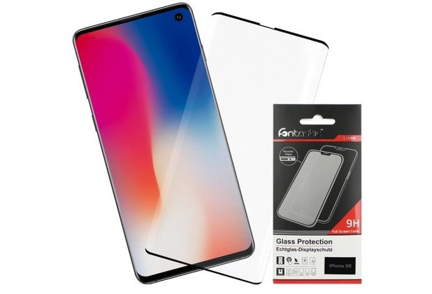 Fontastic Curved Full Cover Schutzglas Schwarz Case Friendly, komp. Samsung Galaxy S10