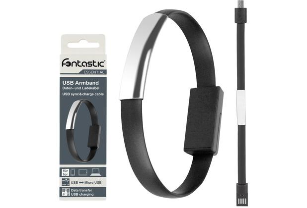 Fontastic Essential Essential Armband Datenkabel MicroUSB 20cm schwarz