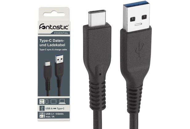Fontastic Essential Datenkabel USB 3.1 Gen 1 A <> Typ-C 1.00m schwarz