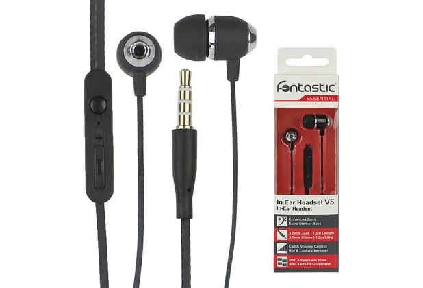 Fontastic Essential Essential In-Ear Stereo-Headset V5 sw Perleffekt Rufannahme-Taste, Lautstärkeregelung, Mikrofon
