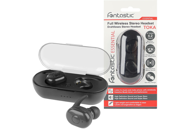 Fontastic Essential Essential True Wireless Stereo Kopfhörer Toka sw Musik und Telefonieren, inkl. tragbare Ladestation