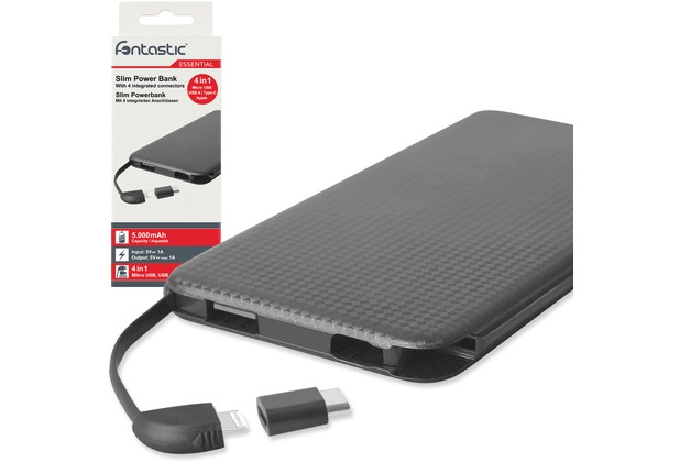 Fontastic Essential Power Bank 4in1 slim Kari 5.0 5000mAh sw integr. Micro-USB/8-Pin Kabel + Type-C + USB-A
