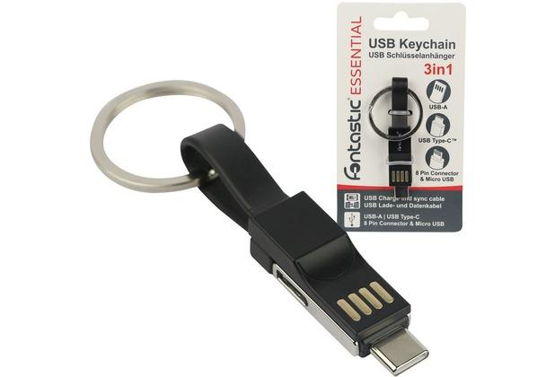 Fontastic Essential Schlüsselanhänger, Mini Lade- u Datenkabel schwarz Type-C, 8-PIN, Micro-USB auf USB-A, 13CM