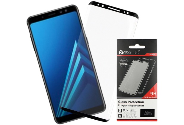 Fontastic Full Cover Schutzglas Schwarz komp. mit Samsung Galaxy A8 (2018)