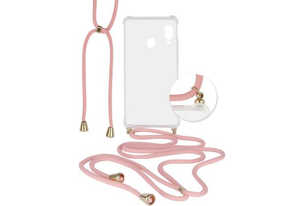 Fontastic Hybridcover Thea transparent mit Kordel pink komp. mit Samsung Galaxy A20e