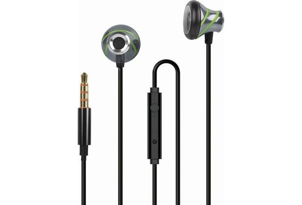 Fontastic In-Ear Stereo-Headset V410 3.5mm anthrazit/grün Alu-Gehäuse, Volume- und Rufannahme-Taste,Mikrofon