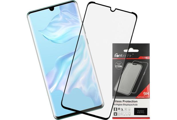 Fontastic Prime Curved Full Cover Schutzglas Schwarz Case Friendly, komp. mit Huawei P30 Pro