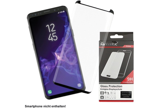Fontastic Prime Curved Full Cover Schutzglas Schwarz Case Friendly, komp. Samsung Galaxy S9