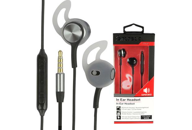 Fontastic Prime In-Ear Stereo-Headset V415 3.5mm sw/anthrazit 3-Tasten-Fernbedienung,Mikrofon,Ergonomische Form