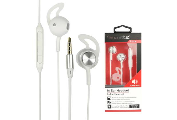 Fontastic Prime In-Ear Stereo-Headset V415 3.5mm ws/silber Rufannahme-Taste, Lautstärkeregelung, Mikrofon