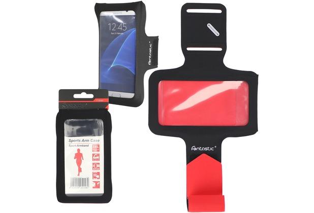 Fontastic Prime Sport Armband Slim Schwarz Rot 3XL 160x78MM, Schlüsselfach, Kopfhörer-Slots