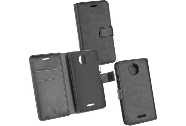 Fontastic PU Tasche Diary Business schwarz komp. mit Motorola Lenovo Moto C Plus