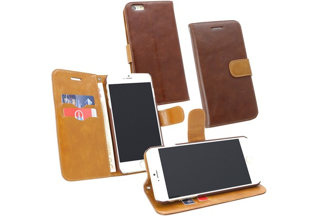 Fontastic PU Tasche Diary Twin braun für Apple iPhone 6+/6s+