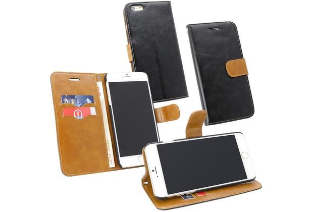 Fontastic PU Tasche Diary Twin schwarz für Apple iPhone 6+/6s+