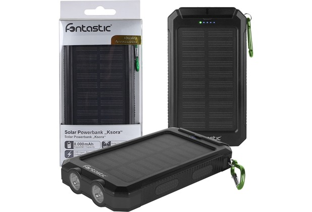 Fontastic Solar Power Bank Ksora 8.0 8000mAh schwarz 2 x USB-A, LED Licht, Karabinerhaken, Kompass