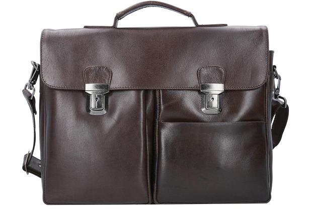 Franky Raje Aktentasche Leder 40 cm Laptopfach braun