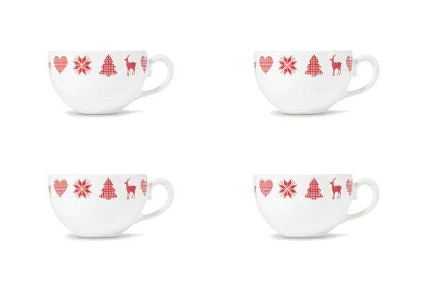 Friesland 4er Set Kaffee- Obertasse, Happymix, Friesland, 0,24l Weihnachten Weiß