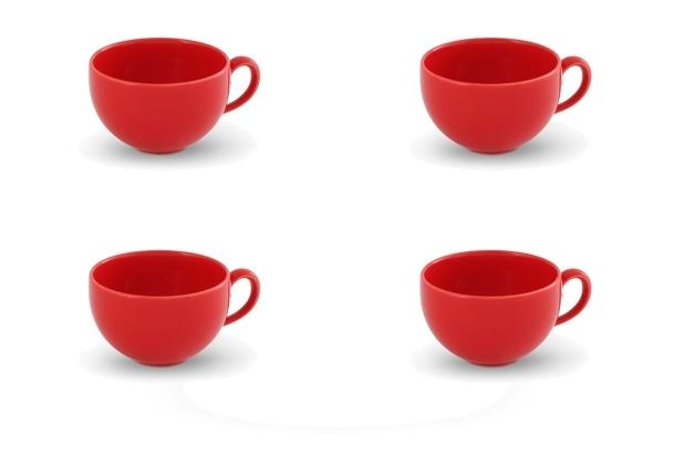 Friesland 4er Set Kaffee-Obertasse, Happymix, Friesland, 0,24l Rot