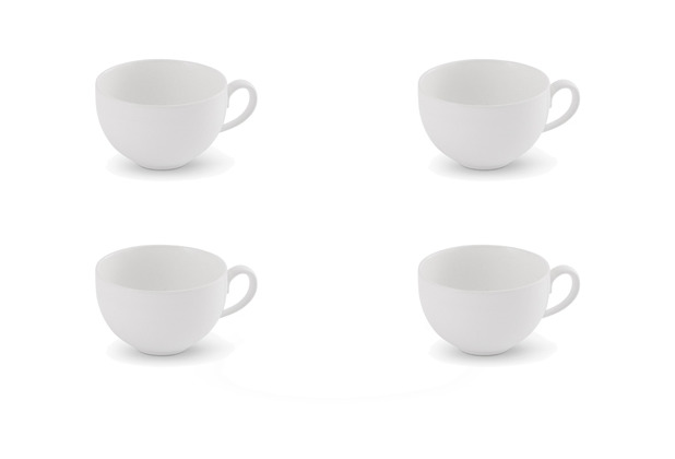 Friesland 4er Set Kaffee-Obertasse, Happymix, Friesland, 0,24l weiß