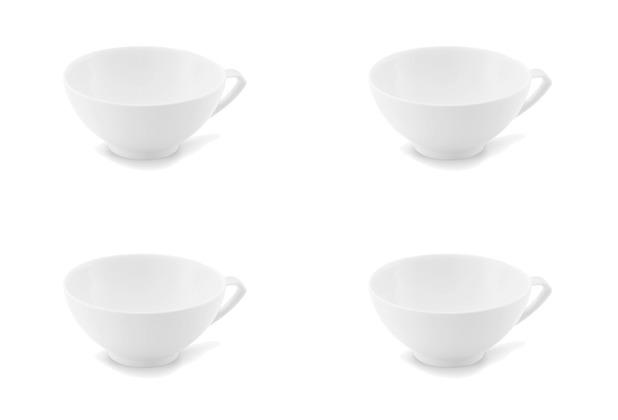 Friesland 4er Set Tee- Obertasse, niedrig, Ecco, Friesland, 0,2l, 4 tlg. weiß