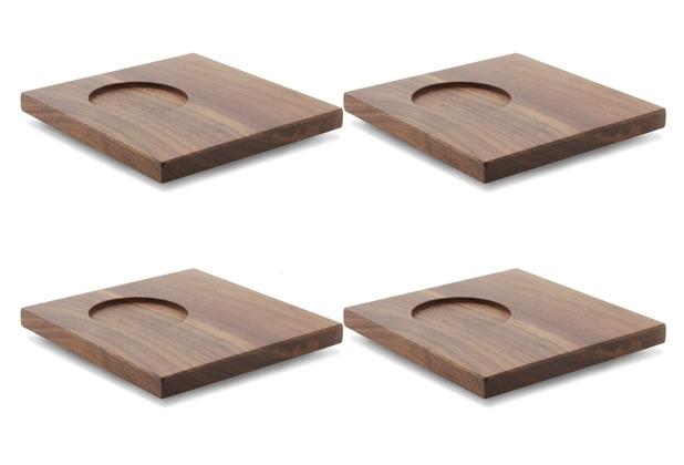 Friesland 4er Set Untertasse aus Holz, Chai, Friesland, 13 cm weiß