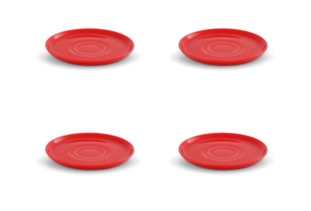 Friesland 4er Set Untertasse, Uni, Happymix, Friesland, 15 cm Weihnachten Rot