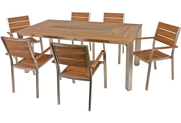 Garden Pleasure Tischgruppe FLORENCE 7tlg. / 1x Tisch 305266 / 6x Stapelstuhl 305268