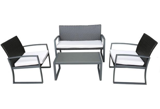 Garden Pleasure Tischgruppe GARDA, 4-teilig Stahl / Kunststoffgeflecht