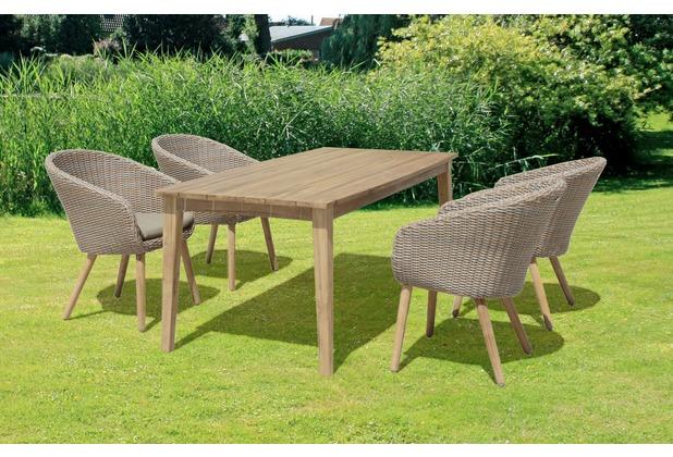 Garden Pleasure Tischgruppe VISALIA 5tlg. / 4x Stuhl 985152 / 1x ...