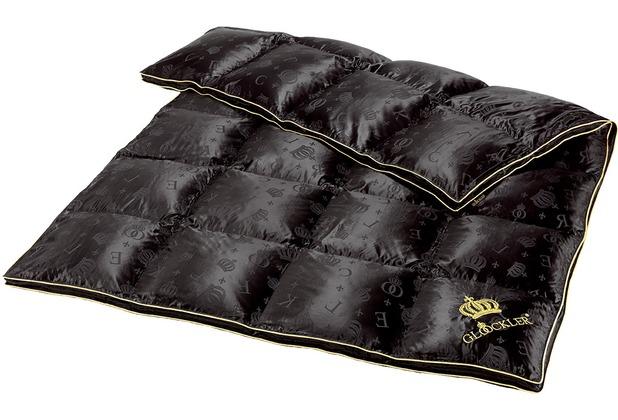 GLÖÖCKLER by KBT Luxus Kassettendecke 4x6 Karos, schwarz mit goldfarbender Biese 135x200cm
