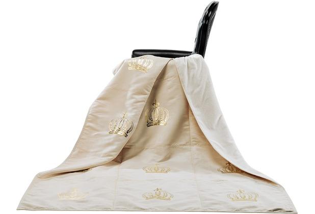GLÖÖCKLER by KBT Wohndecke Royal, beige mit goldfarbender Krone 150x200cm