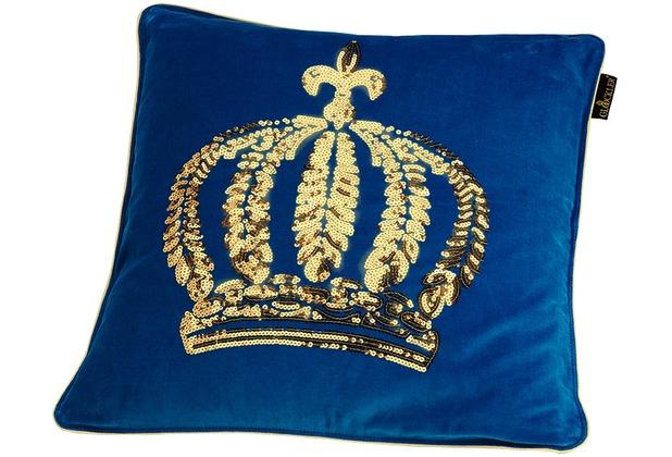GLÖÖCKLER by KBT Zierkissenhülle, blau mit goldfarbender Paillettenkrone 50x50cm