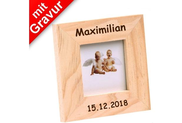 Glorex Bilderrahmen mit Glas MIT GRAVUR (z.B. Namen) passend für Fotos im Format 3,7x3,7cm aus Holz Kiefer unbehandelt