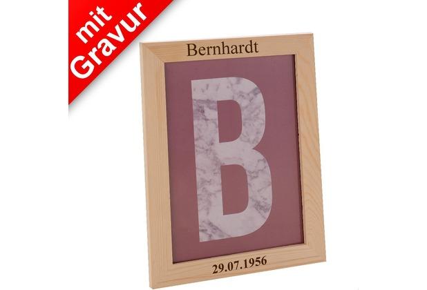 Glorex Bilderrahmen MIT GRAVUR (z.B. Namen) passend für Fotos im DIN A4-Format (21x29,7cm) aus aus Holz Kiefer unbehandelt