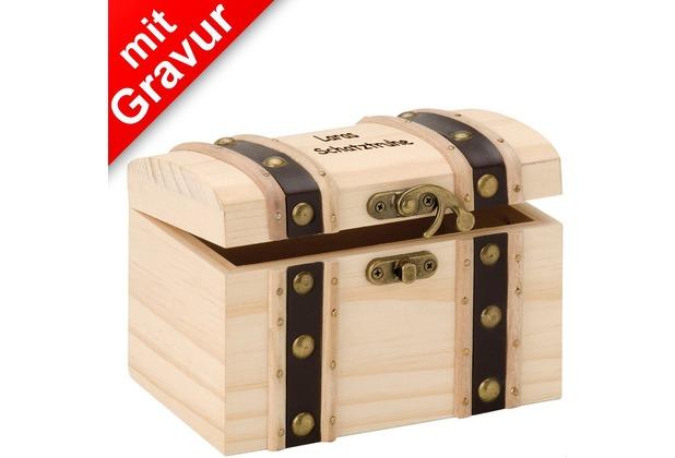 Glorex Schatztruhe MIT GRAVUR (z.B. Namen) L14xB9,5xH9,5cm, Geschenkbox aus Holz Kiefer unbehandelt