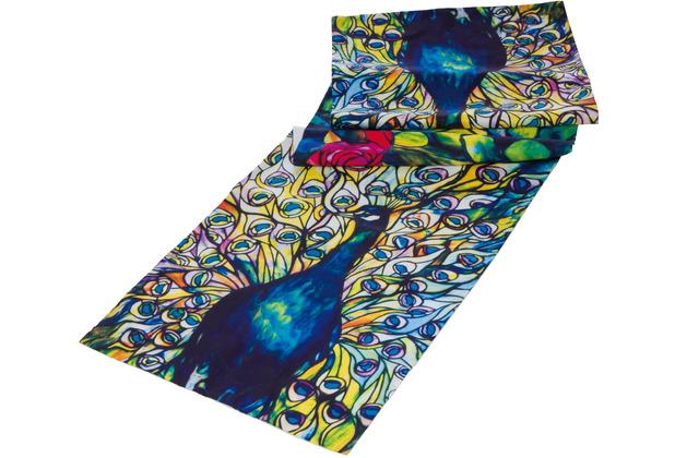 "Goebel Tischläufer Louis Comfort Tiffany - \""Pfau\"" 140 x 40 cm"