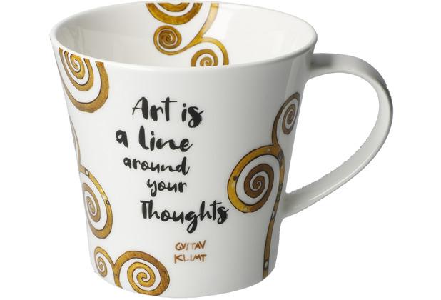 """Goebel Coffee-/Tea Mug Gustav Klimt - \""""Art is a line...\"""" 9,5 cm"""