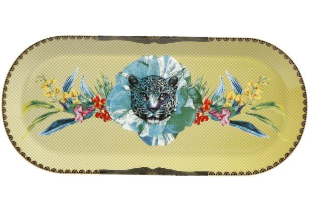 """Goebel Servierplatte Elephant - \""""Leopard Blau\"""" 33 x 15 cm"""