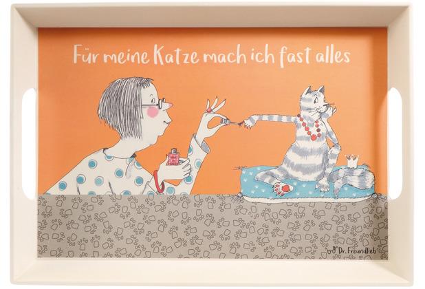 """Goebel Tablett Barbara Freundlieb - \""""Für meine Katze\"""" 50 x 35 x 5 cm"""