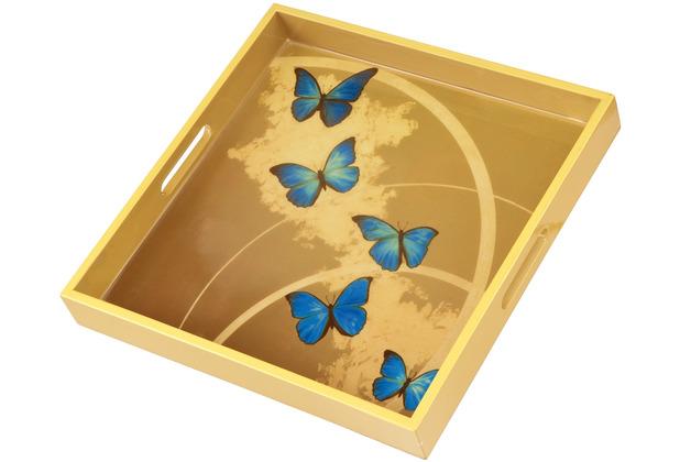 """Goebel Tablett Joanna Charlotte - \""""Blue Butterflies\"""" 37 x 37 cm"""