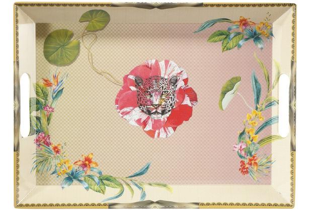 """Goebel Tablett Elephant - \""""Leopard Pink\"""" 49 x 36 cm"""
