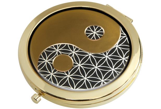 "Goebel Taschenspiegel Lotus - \""Yin Yang schwarz\"" 7,5 cm"