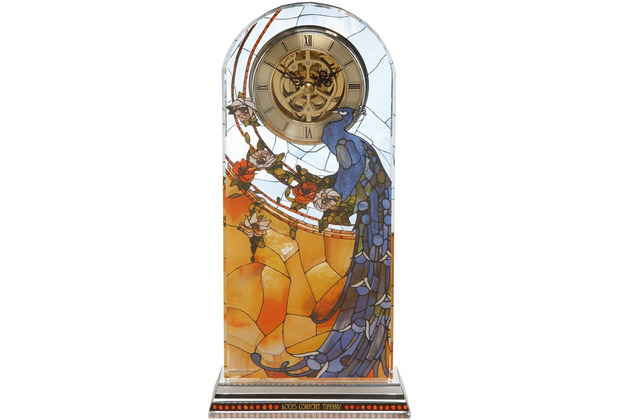 "Goebel Tischuhr Louis Comfort Tiffany - \""Pfau\"" 12,5 x 25,5 cm"