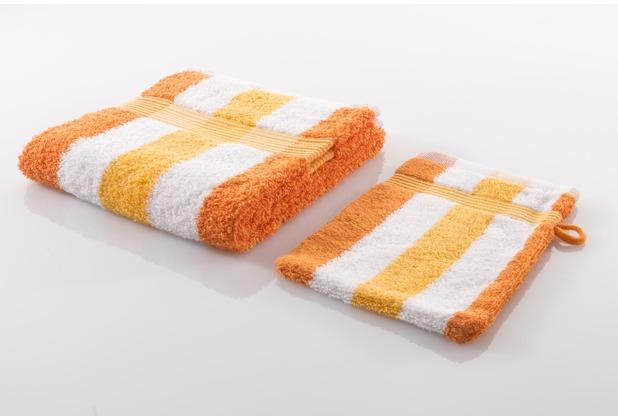 Gözze Frottierserie New York Streifen orange/weiß/gelb Duschtuch 70 cm x 140 cm