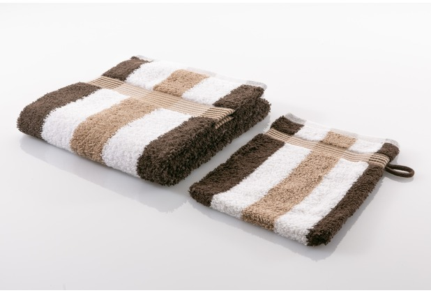Gözze Frottierserie New York Streifen weiß/mocca/marone Duschtuch 70 cm x 140 cm