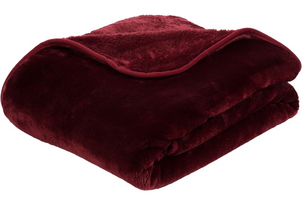 Gözze Premium Cashmere-Feeling Decke, bordeaux 180x220 cm