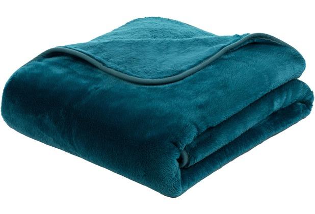 Gözze Premium Cashmere-Feeling Decke, petrol 180x220 cm