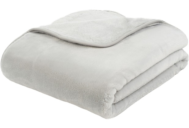 Gözze Premium Cashmere-Feeling Decke, silber 180x220 cm