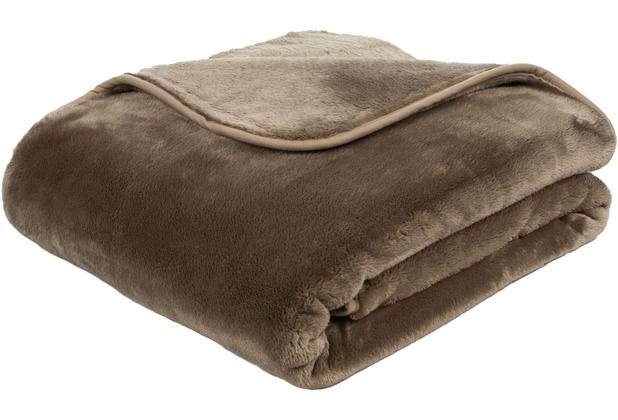 Gözze Premium Cashmere-Feeling Decke taupe 180x220 cm