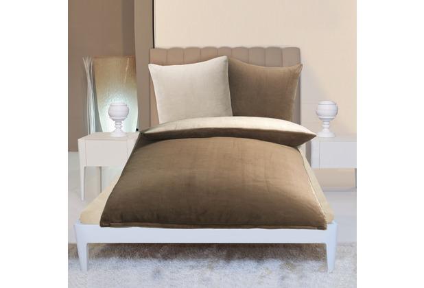 Gözze Wendebettwäsche in Cashmere-Qualität taupe/wollweiß 300 g/m² 155 x 220 cm Deckenbezug + 80 x 80 cm Kissenbezug